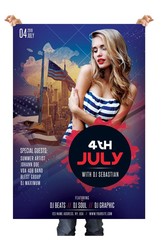 4th of july free psd flyer template freebiedesign net