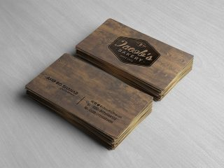 Free Front & Back Wooden Business Card Mockup PSD