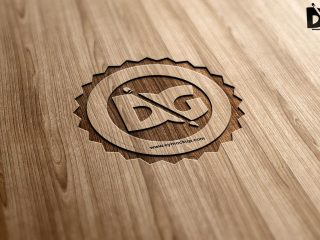 Free Laser Cutline Wood PSD Mock-Up