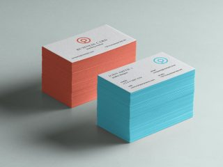 Free Letterpressed Business Card with Color Edge Mockup PSD