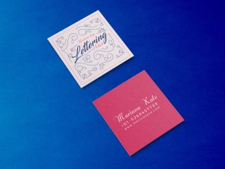 Free Front & Back Square Business Card Mockup PSD