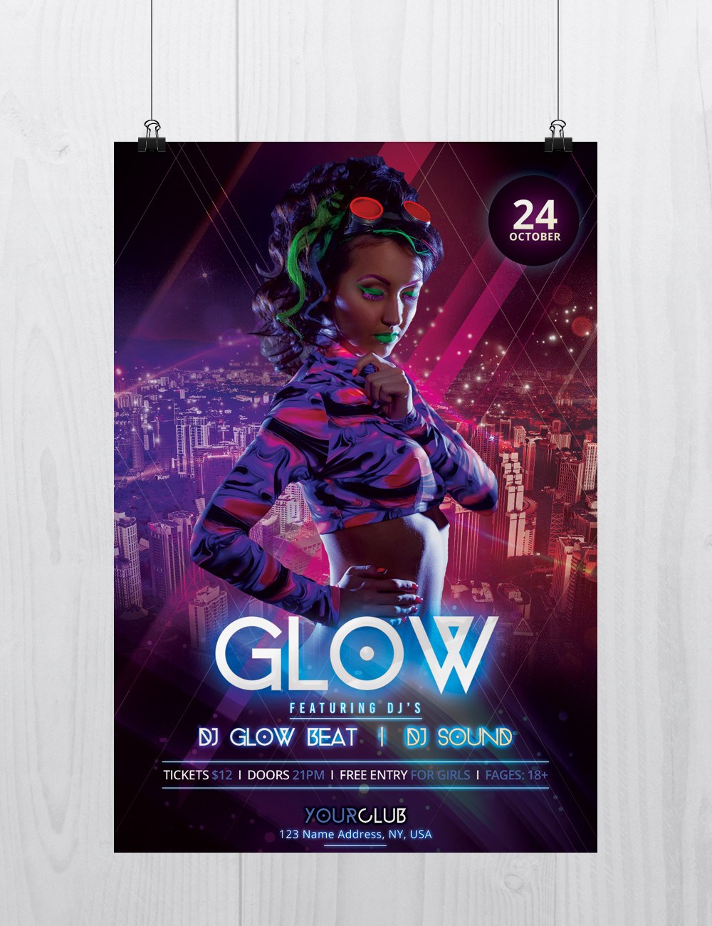 Glow And Neon Freebie Party Psd Flyer Template Freebiedesign