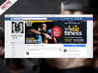 Gym Fitness Facebook Fanpage Cover Free Template PSD