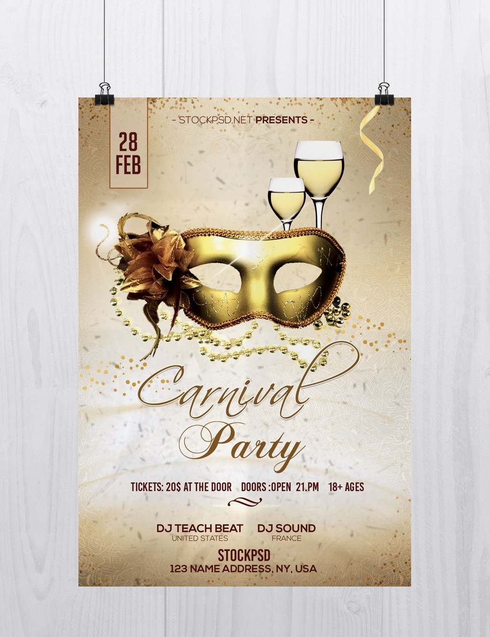 carnival party free flyer psd template freebiedesign net