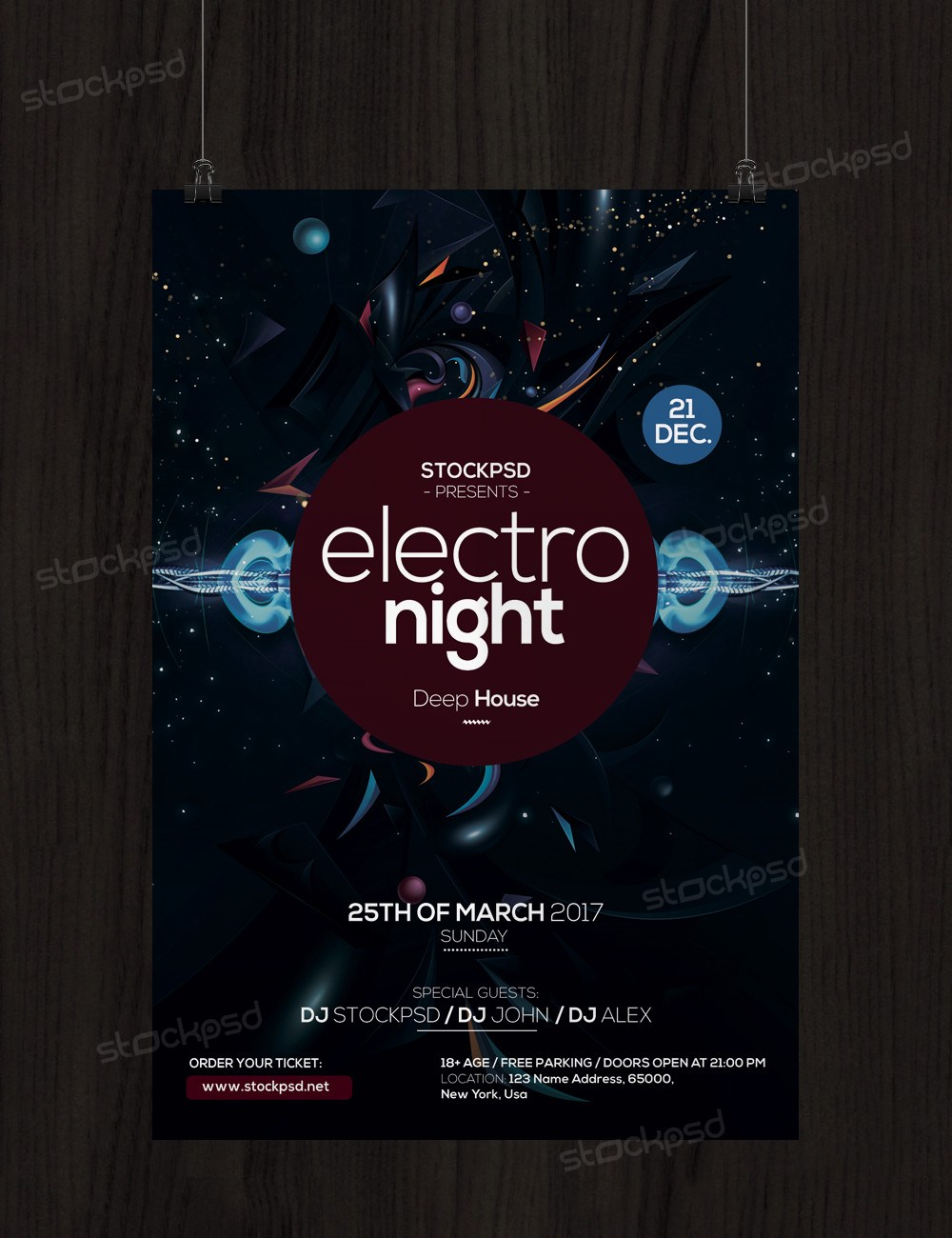 Electro Night Free Psd Flyer Template Freebiedesign