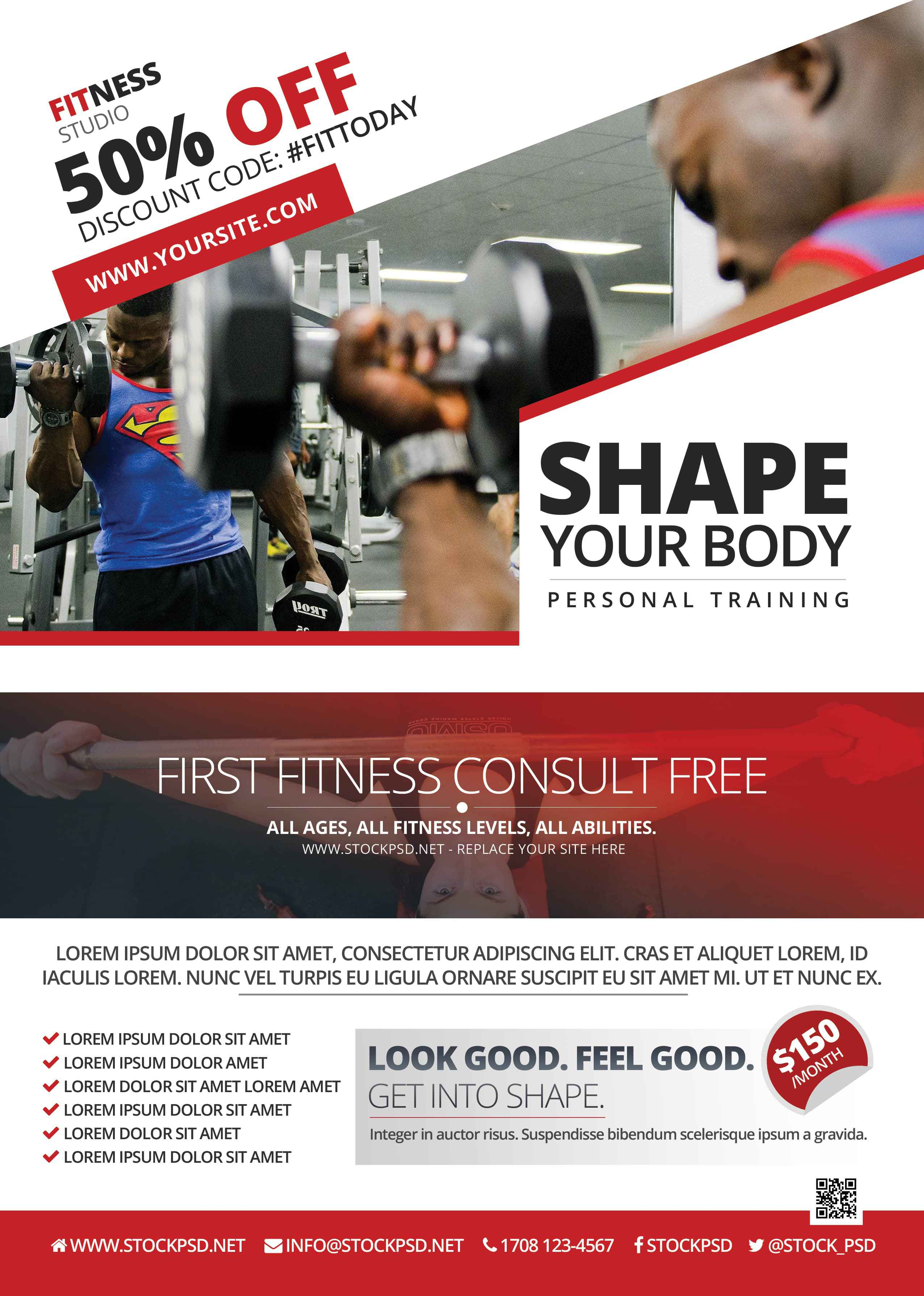 Fitness And Gym Freebie Psd Flyer Template Freebiedesign
