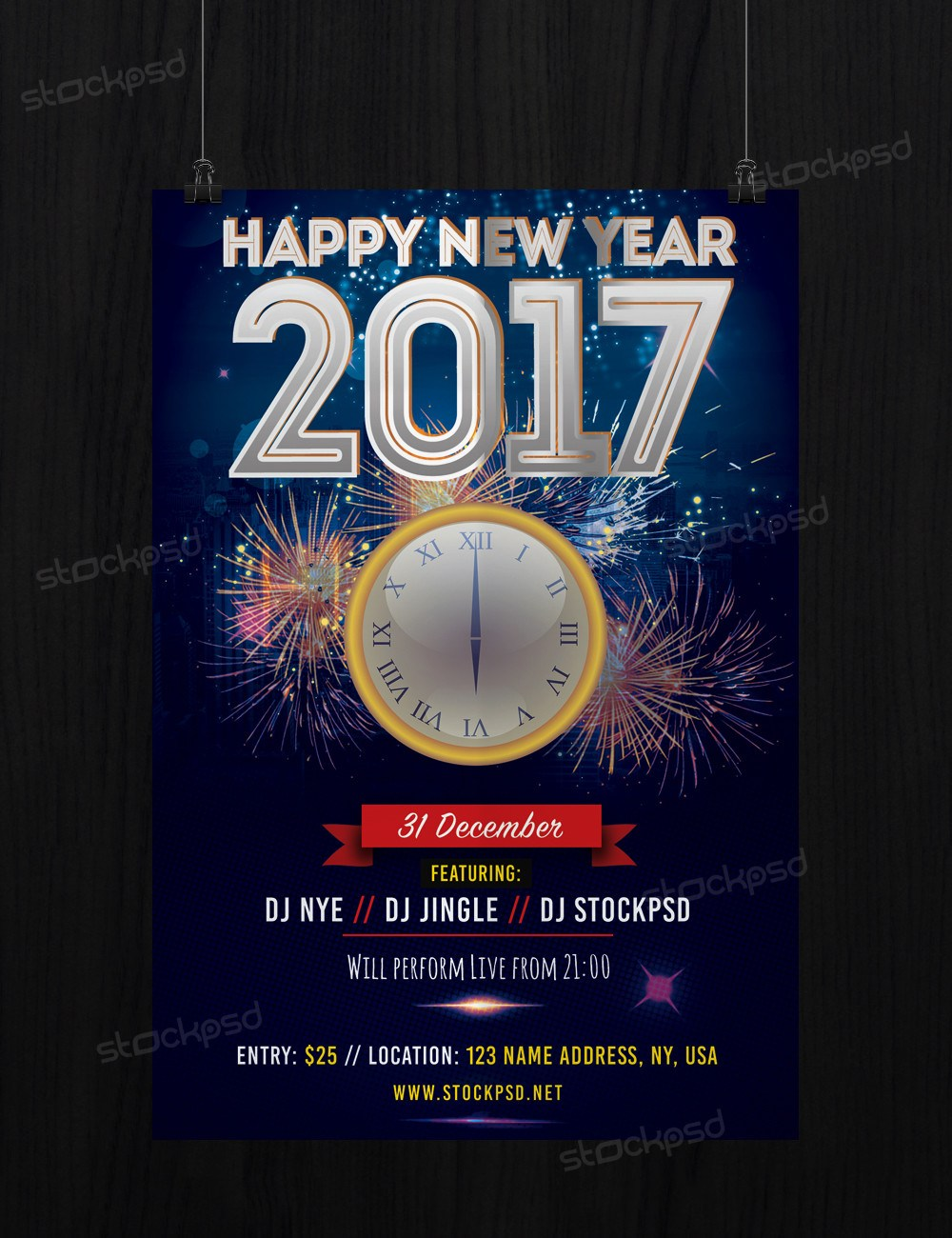 2017 Free New Years Eve - FREE PSD Flyer Template - FreebieDesign.net