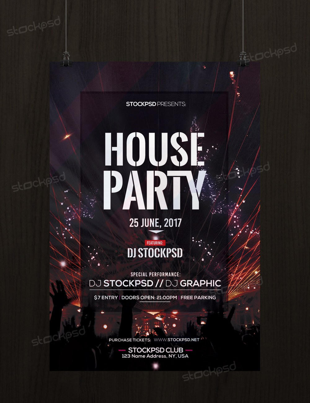 House Party Download Free Psd Flyer Template Freebiedesign