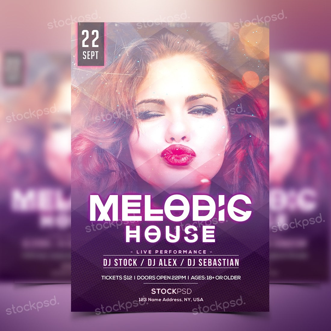 Melodic House Free Party Psd Flyer Template Freebiedesign