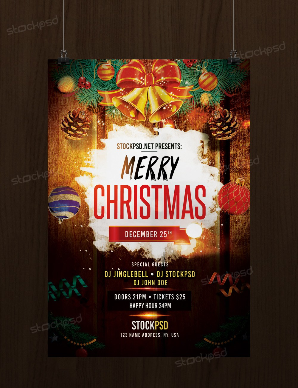 Download Merry Christmas Free Psd Flyer Template Freebiedesign