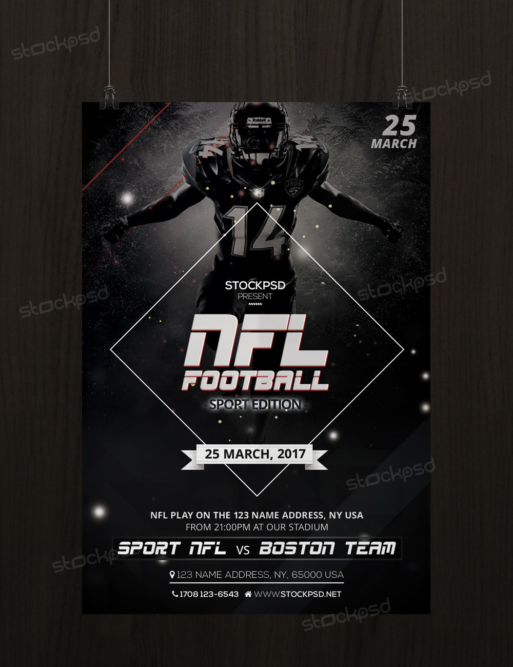 nfl football free sport psd flyer template freebiedesign net