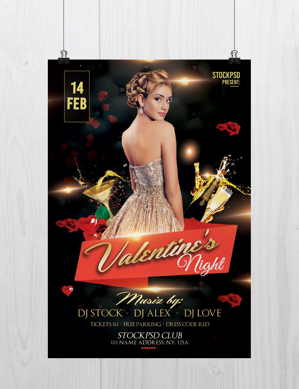 Valentines Night Free Psd Flyer Template Freebiedesign