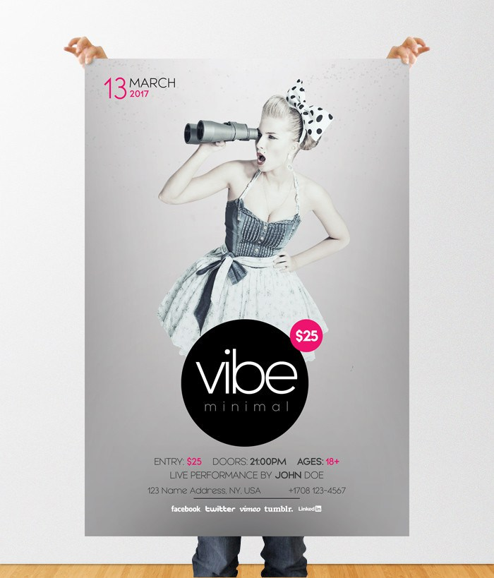 Vibe Minimal Free Psd Flyer Template Freebiedesign Net
