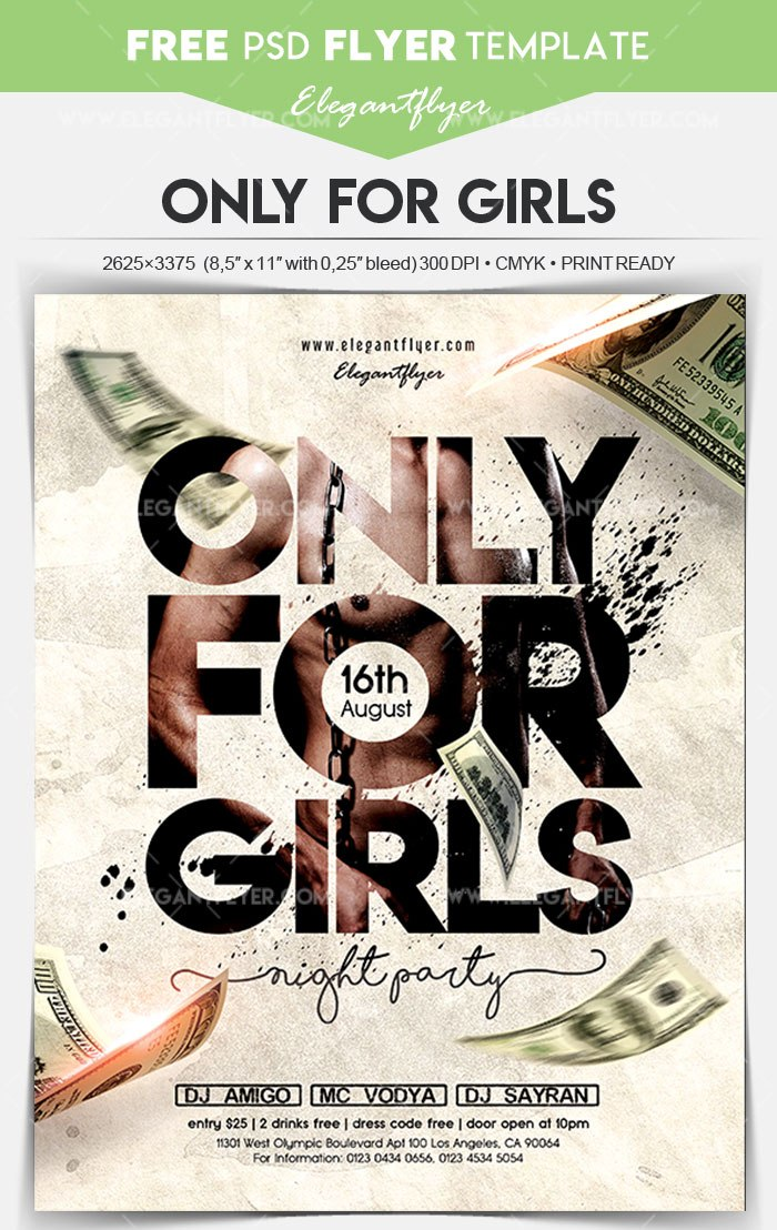 Only For Girls Free Flyer Psd Template Freebiedesign