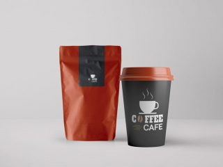 Free Coffee Packaging and Paper Cup Mockup