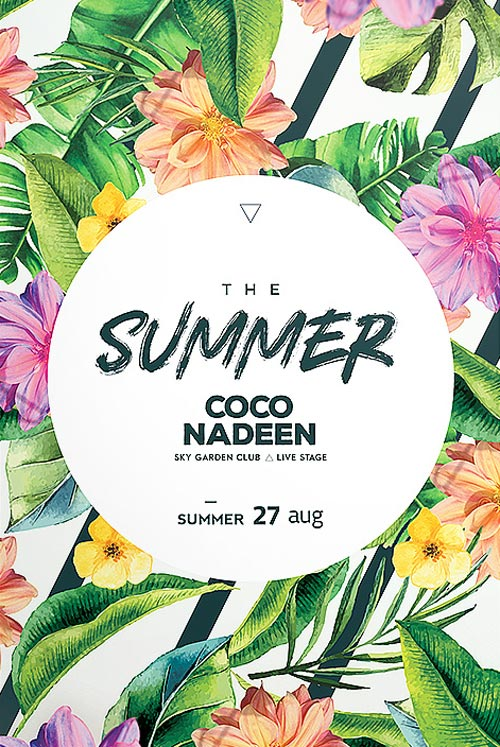 exotic summer party free flyer template freebiedesign net