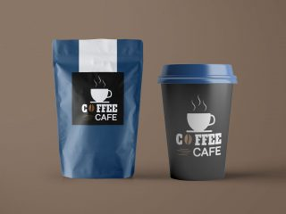 Free Paper Pouch Coffee Bag & Cup Packaging Mockup PSD