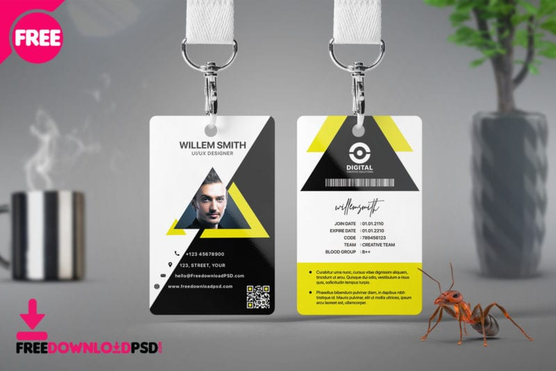 free office id cards design free psd  freebiedesign