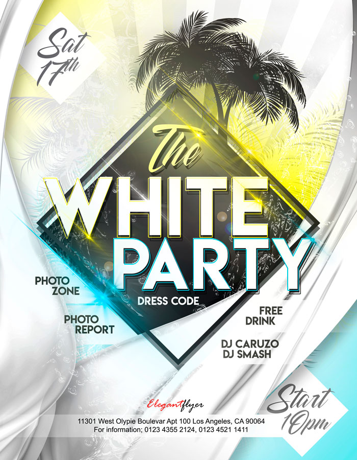 White Party Free Flyer Psd Template Freebiedesign