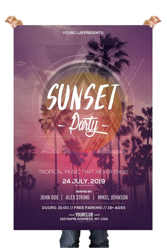 Sunset Party Download Free Psd Flyer Templates Freebiedesign
