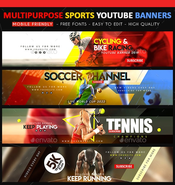 35 FREE PSD YOUTUBE CHANNEL BANNERS FOR THE BEST CREATIVE