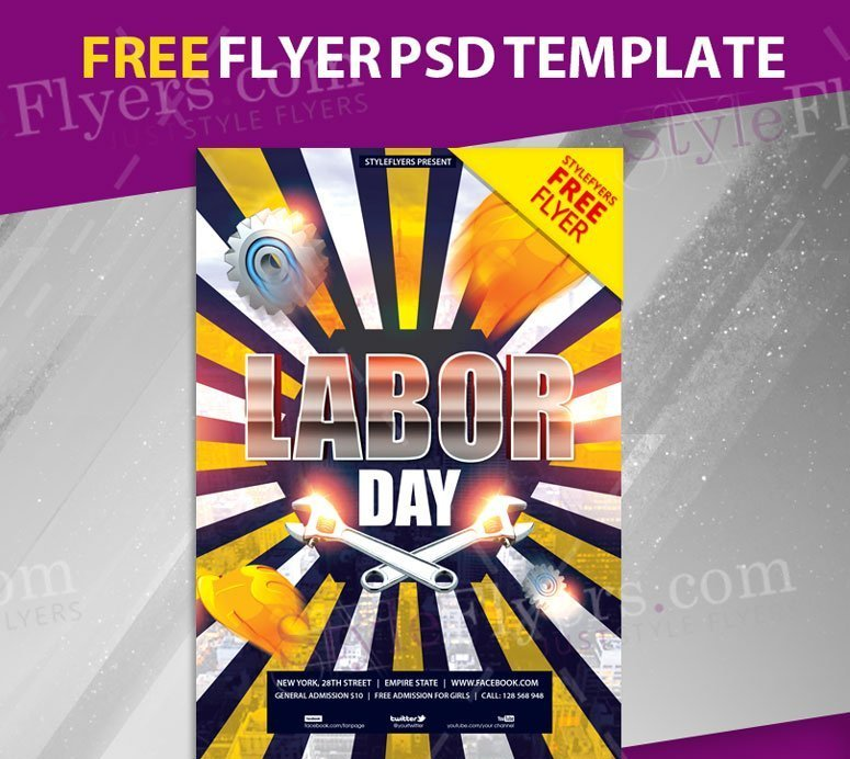Labor Day Free Psd Flyer Template Freebiedesign Net