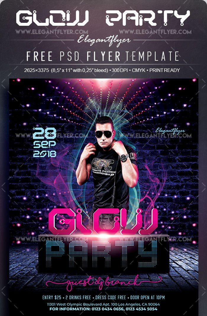 Glow Party Free Flyer Psd Template Freebiedesign