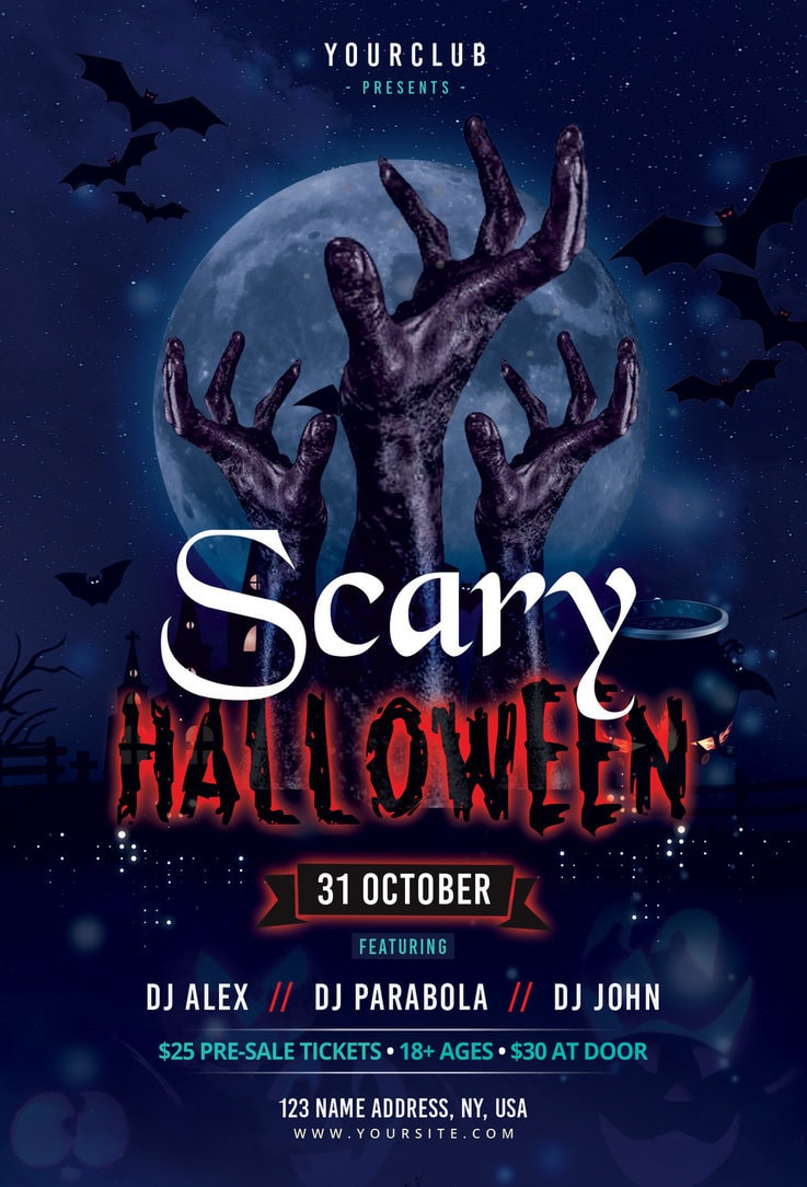 Scary Halloween Free Psd Photoshop Flyer Template Freebiedesign