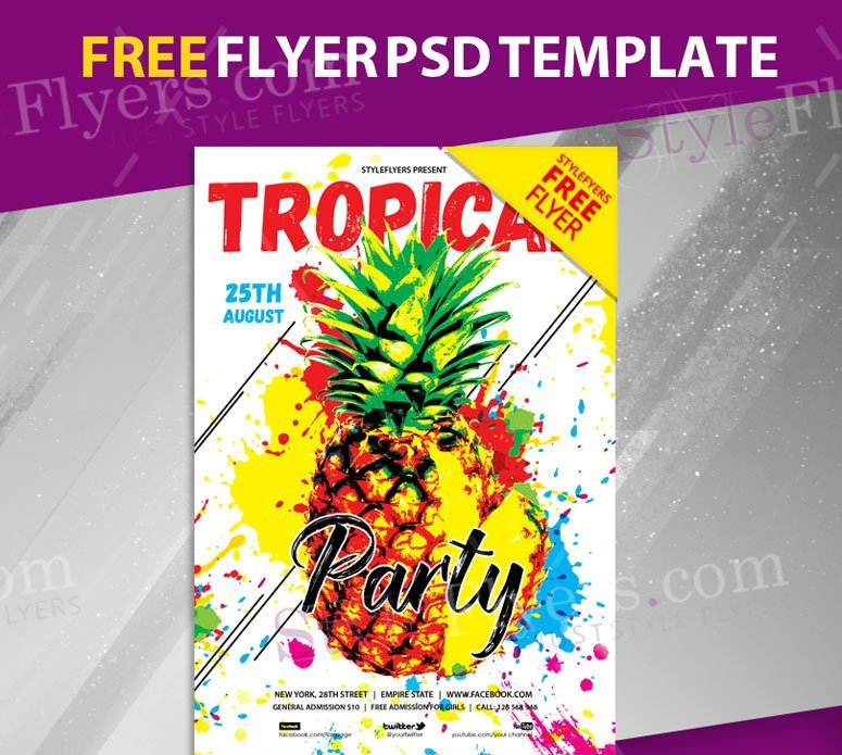 tropical party free flyer psd template freebiedesign net