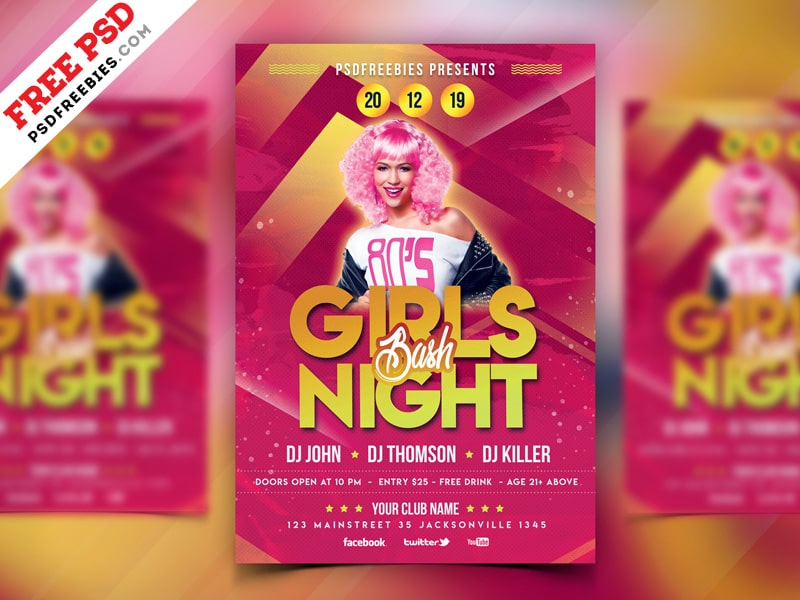 Free Girls Party Flyer Psd Template Freebiedesign