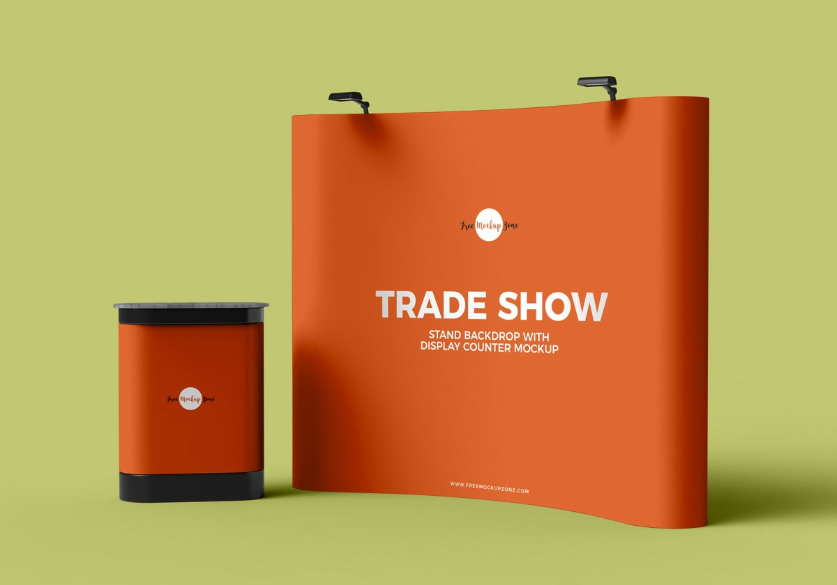 Free Psd Trade Exhibition Stand Mockup : Free trade show banner stand backdrop with display counter