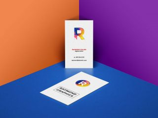 Free Vertical Double-Sided Business Card Mockup PSD