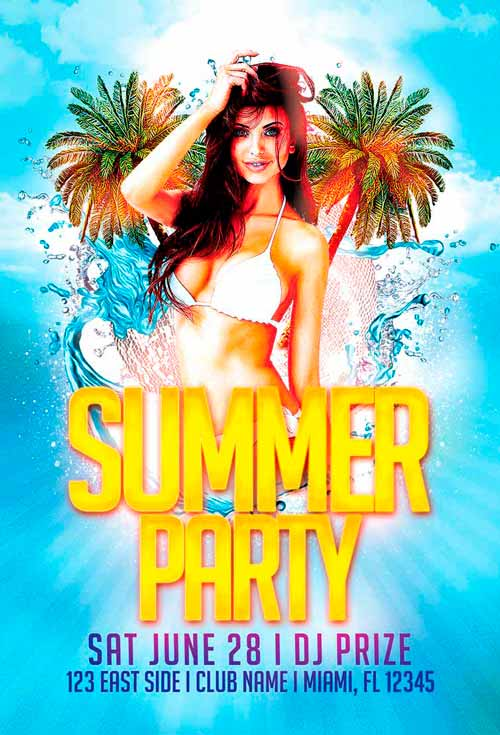 the free summer party flyer template vol 2 freebiedesign net
