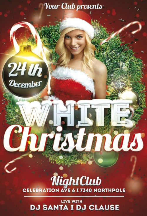 free white christmas flyer template freebiedesignnet