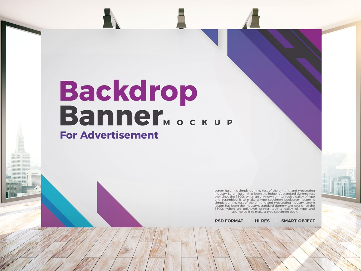 Free Backdrop Banner Mockup Psd For Indoor Advertisement Freebiedesign Net