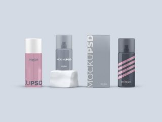 Free Cosmetics Items with Spray Bottles Mockup