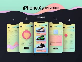 Free Gold, Silver & Space Gray iPhone Xs App Screen Mockup PSD