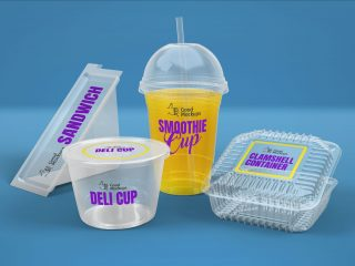 Free Transparent Sandwich Box, Clamshell Container, Deli & Smoothie Cup Packaging Mockup PSD