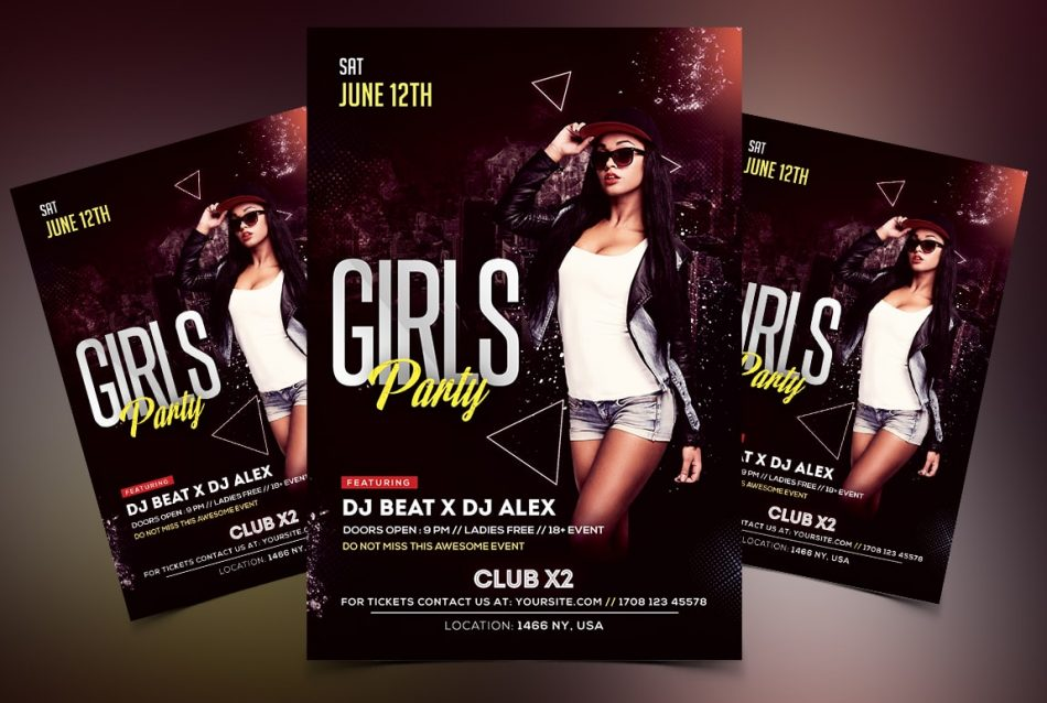 Ladies Party Free Psd Flyer Template Freebiedesign