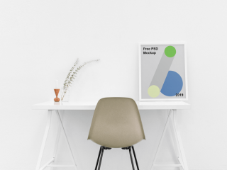 Poster on Table Free PSD Mockup Templates