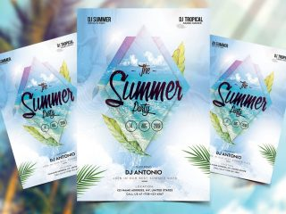 Tropical Leaves Party Free PSD Flyer Template