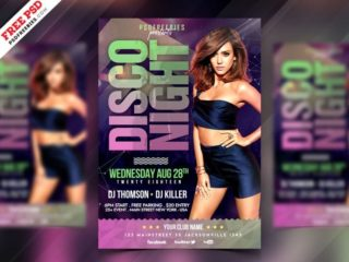 Free Disco Party Flyer PSD Template
