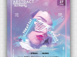 Abstract DJ Party Free PSD Poster Template