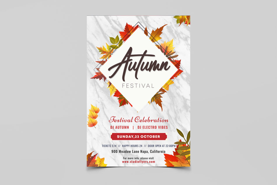 Autumn Festival PSD Free Flyer Template