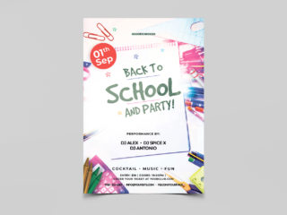 Back To School and Party Free PSD Flyer Template