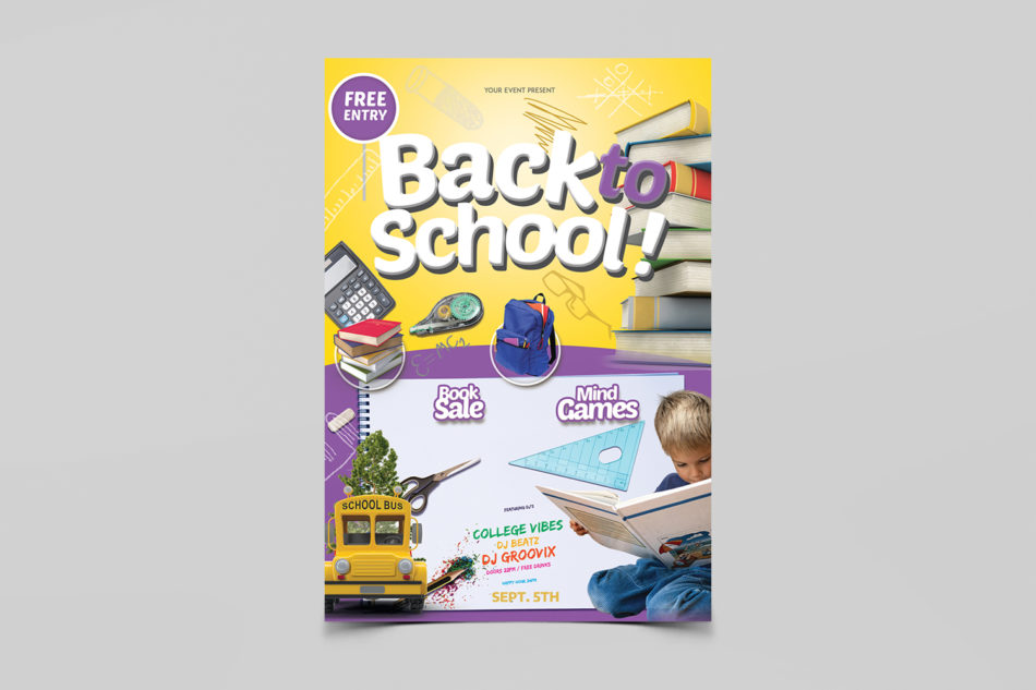 Back to School Kids Free PSD Flyer Template