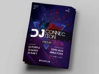 DJ Connection Free PSD Flyer Template