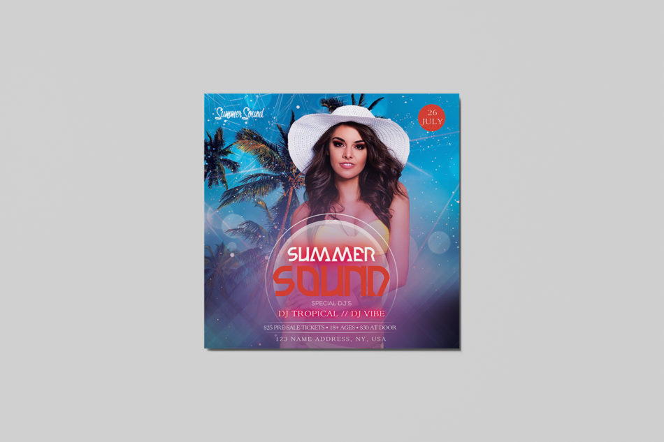Free Summer Sound PSD Flyer Templates