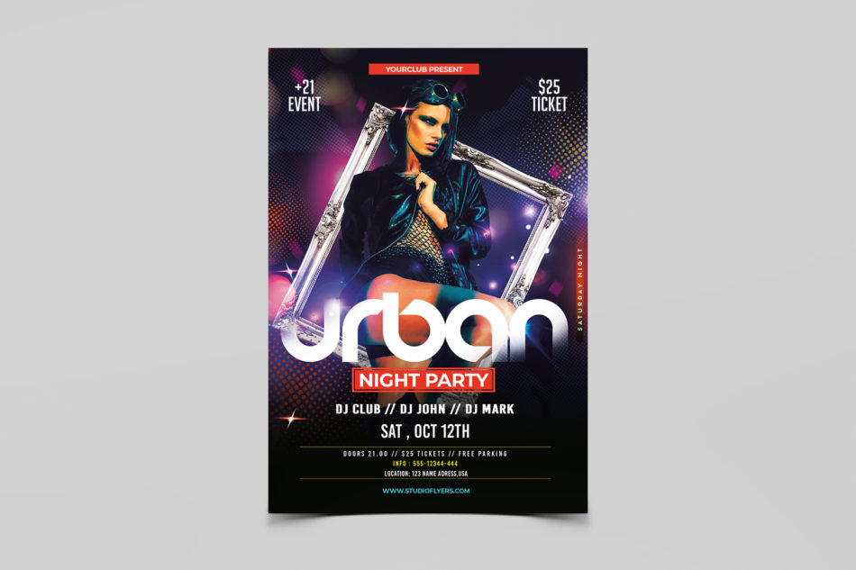 Ladies Night Urban Party Free PSD Flyer Template