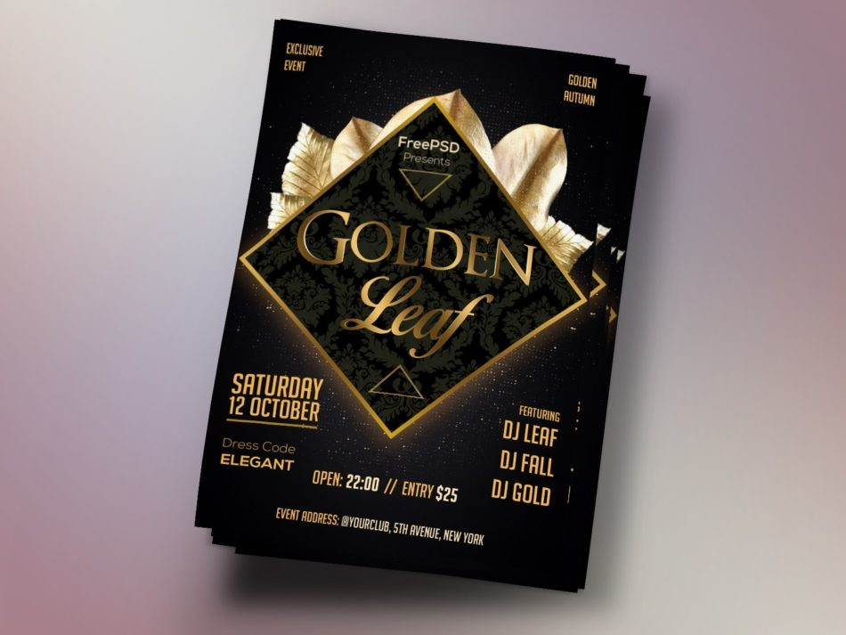 Black & Gold Leaf Free PSD Flyer Template